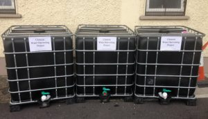 1000 Lt water storage containers ready for installation around Cloneen